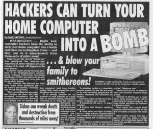 Media hacking hysteria. Image: Weekly World News